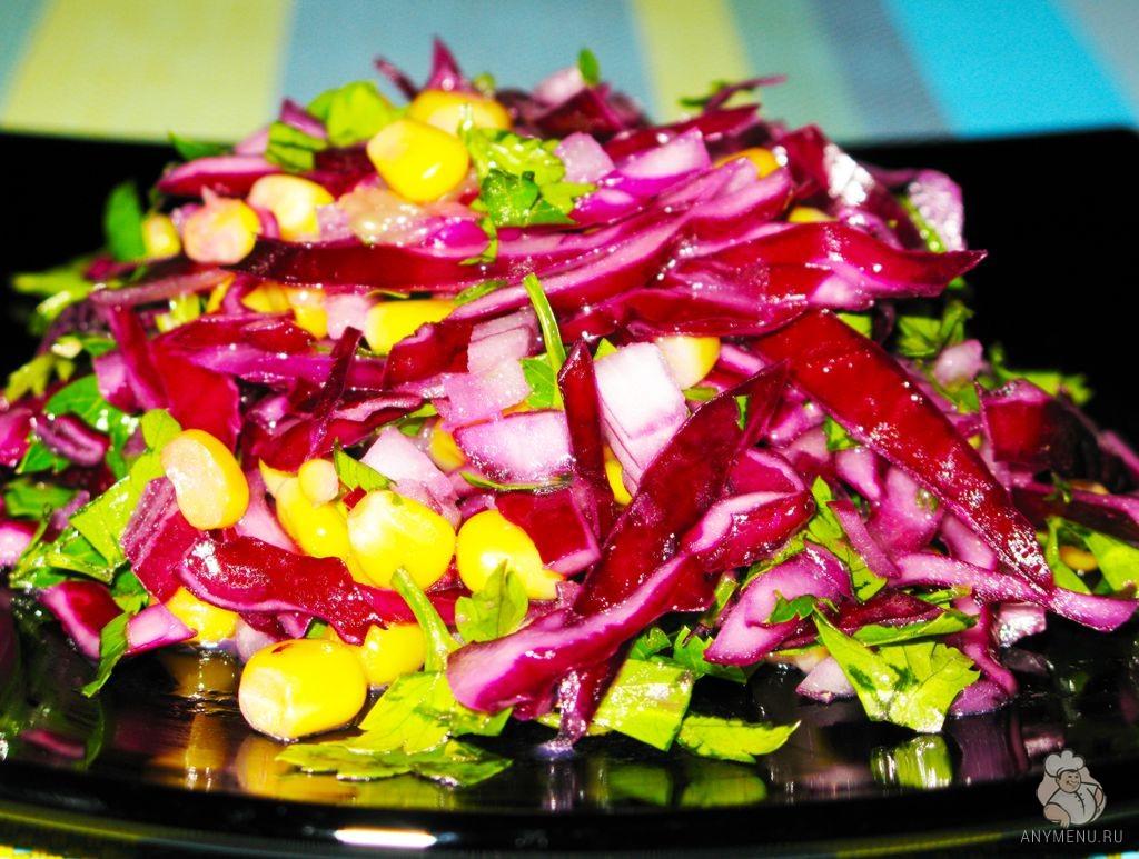 Салат из краснокочанной капусты с кукурузой (3)