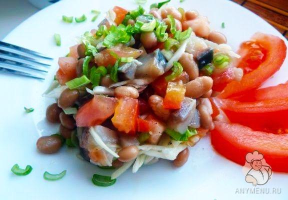 Салат из сельди с фасолью