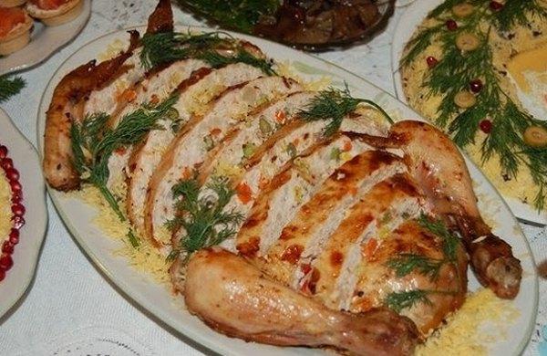 Цыплёнок фаршированный в духовке рецепт с фото